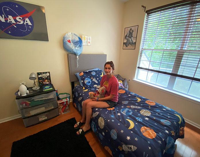 Breanna Micciolo in Corey's bedroom