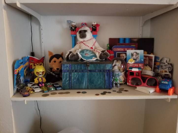 Mother Sareh Lang's memorial shelf for murdered 3-year-old son Christian Paz