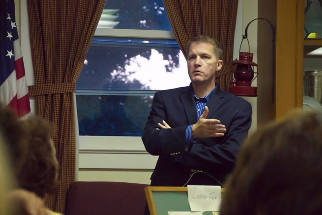 Southold Town Supervisor  Scott Russell discusses the deer cull results at the East Marion Community Association meeting last Thursday. (Credit: Paul Squire)
