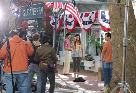 "KATHARINE SCHROEDER FILE PHOTO | Actress Reshma Shetty, who plays Divya Katdare, films a scene for the USA Network show ""Royal Pains"" in Mattituck."