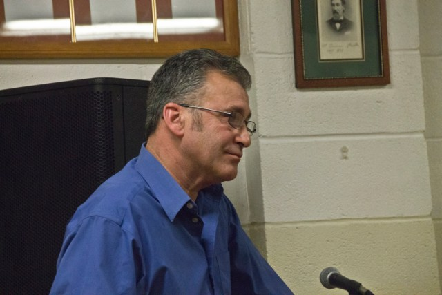 North Fork Smoked Fish Co. owner Phil Karlin addresses the Greenport Planning Board Thursday night. (credit: Paul Squire)