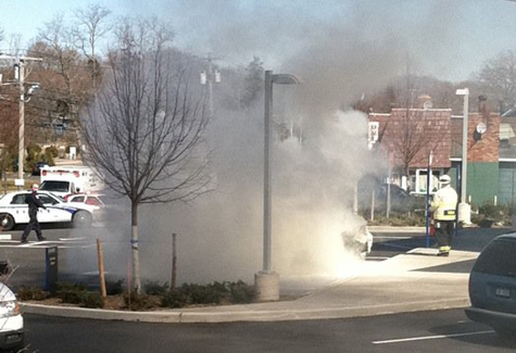 DARBY UHLINGER COURTESY PHOTO | A car fire on Main Road in Mattituck Tuesday.