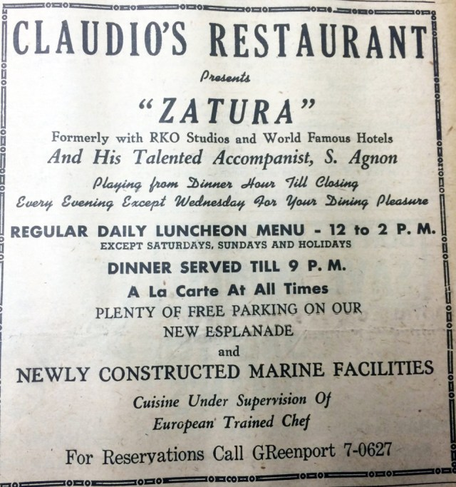 Claudio's — July 14, 1961