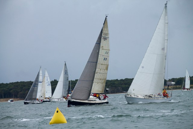 The race begins for one of the ship classes Saturday morning. The different boats were divided into categories based on speed and sent off on the race at different times. (Credit: Paul Squire)