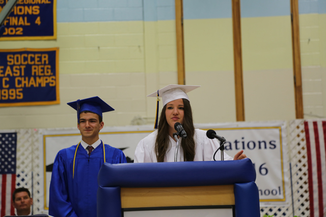 Samantha Smilovich and Samuel Shaffery recite the invocation speech before the opening remarks  (Credit: Krysten Massa)