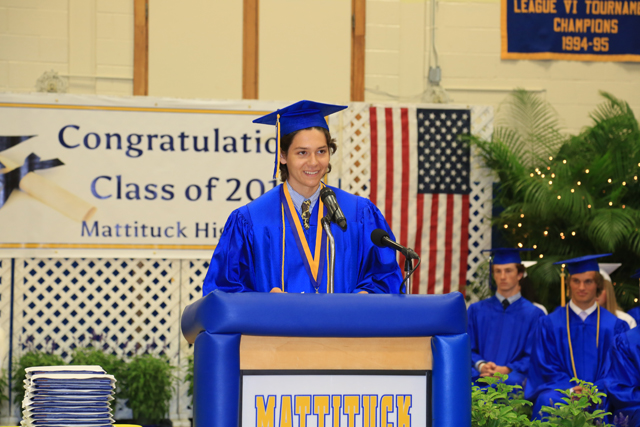 "Salutatorian Jack Dufton gives a speech quoting Dorey from ""Finding Dorey."" (Credit: Krysten Massa)"