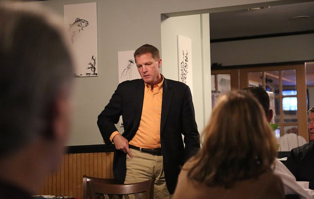 Town Supervisor Scott Russell speaks at a Mattituck Chamber of Commerce meeting Wednesday night to explain his call for a moratorium on new wineries. (Credit: Paul Squire)