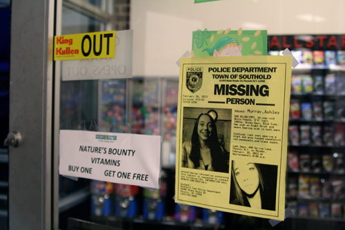 JENNIFER GUSTAVSON PHOTO | A missing person flier posted at the King Cullen in Cutchogue.