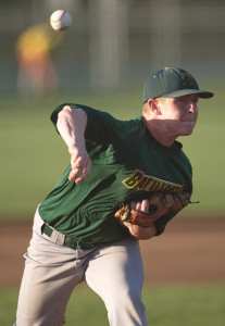 GARRET MEADE PHOTO   Center Moriches pitcher Mike O'Reilly, a former Shoreham-Wading River High School star, had eight strikeouts in seven innings.