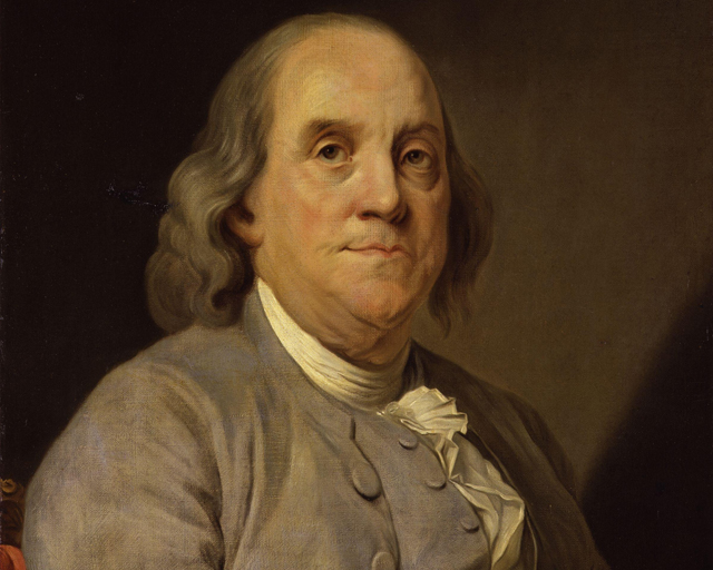 Joseph-Siffred Duplessis' famous portrait of Benjamin Franklin, painted in 1778. (Credit: Wikimedia)