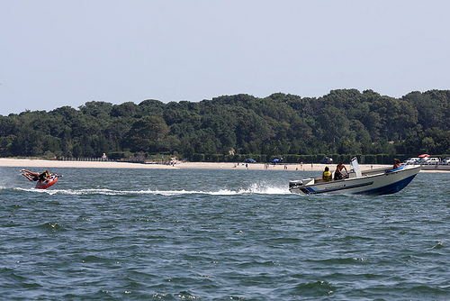 COURTESY PHOTO | Water tubers in the Peconic Bay.