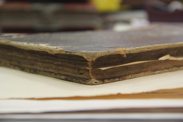 """One of David G. Floyd's logbooks from his time on whaling ships """"Italy"""" and """"Prudent"""" (Credit: Courtesy)."""