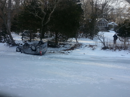 PHOTO BY DET. EDWARD GRATHWOHL | This car filled into Broadwaters Creek Sunday morning.