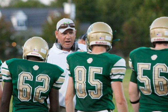 Mike Buck coaching his first game at Mercy. (Credit: Katharine Schroeder)