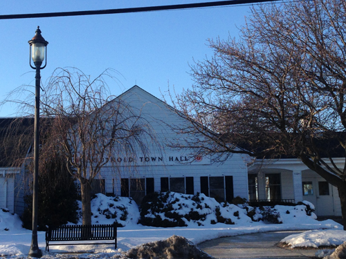 CYNDI MURRAY PHOTO | The Town Board hopes to install a bus shelter in front of Town Hall.