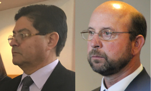 Defendants Carlos Pino, left, and Steven Romeo, right, enter court Wednesday. (Credit: Jen Nuzzo, left, and Paul Squire)