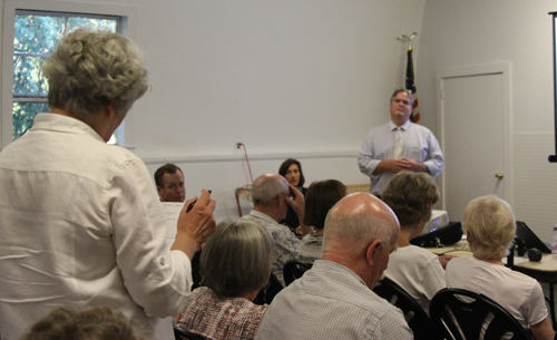 Resident Cathy Simicich asks town principal planner Mark Terry about affordable housing at Wednesday's Mattituck-Laurel Civic Association meeting. (Credit: Jen Nuzzo)