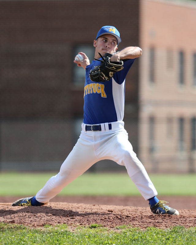Joe Tardif pitched 6 1/3 innings for Mattituck leaving the game with a 4-2 lead. (Credit: Daniel De Mato)