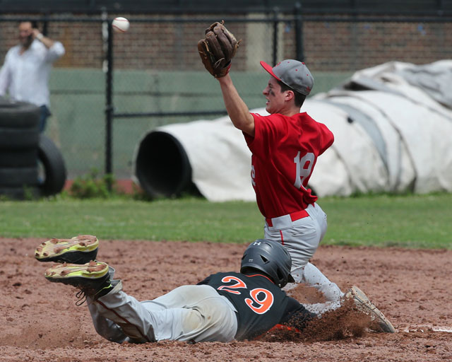Noah Mina waits for the throw as Tuckahoe's Anthony Castracucco slides into second. (Credit: Daniel De Mato)