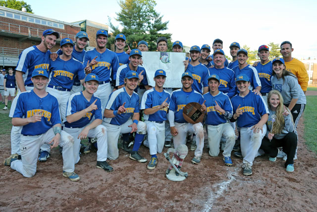 """Mattituck poses with the championship plaque and their """"Good Luck Gnome """"after they defeated Albertus Magnus 9-5 in extra innings in the Class B Baseball South East Regional Championship game at Mamaroneck High School in Mamaroneck. (Credit: Daniel De Mato) Daniel De Mato"""