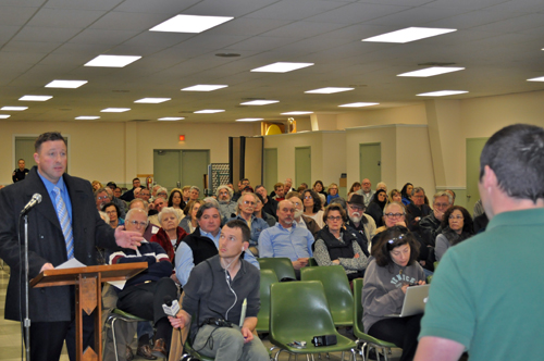 JOSEPH PINCIARO PHOTO | Mike Tessitore, of Hunters for Deer, voiced his concern with plans to proceed with a deer culling program in Southold on Thursday night.
