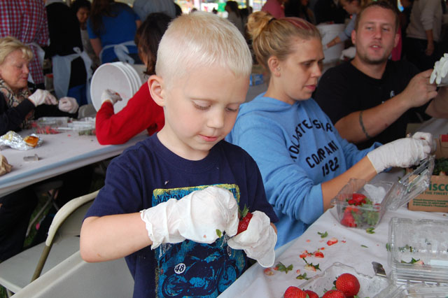 Gacin Timmers, 5, of East Islip at Thursday night's Strawberry Festival in Mattituck. (Credit: Vera Chinese)
