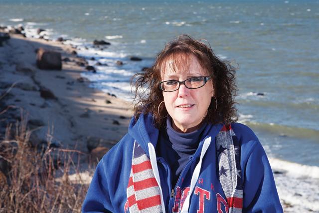 KATHARINE SCHROEDER PHOTO Danielle at Long Island Sound's 67 Steps beach.