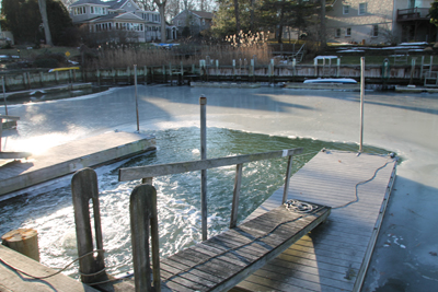 PAUL SQUIRE PHOTO     The dock where Mr. Frey fell into icy waters last week.