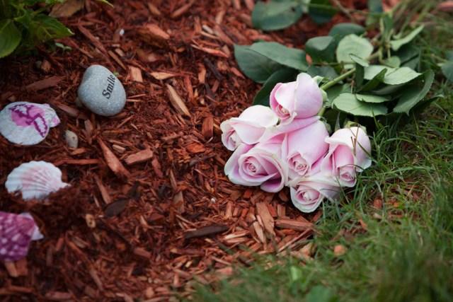 Flowers left for Kaitlyn.