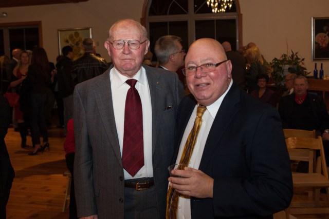 Joe Gergela, right, with his mentor former Farm Bureau president Dick McGuire. (Credit: Katharine Schroeder)