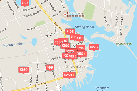 Homes in Greenport that are being rented on AirBnB.