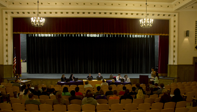 Tuesday night's Greenport Board of Education meeting. (Credit: Paul Squire)
