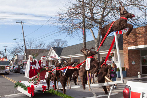 Santa and Mrs. Claus at Sunday's Greenport Fire Department parade. (Credit: Katharine Schroeder photos)