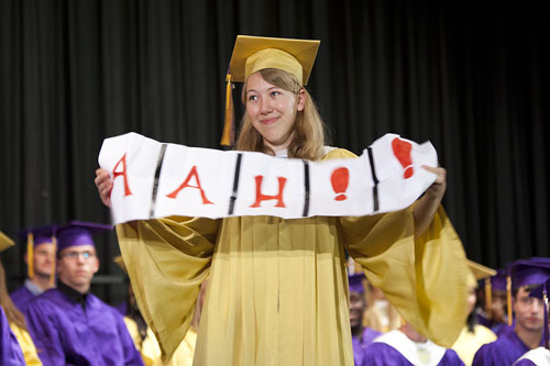 KATHARINE SCHROEDER PHOTO | The Class of 2013 at Greenport High School can all exhale as they graduated high school Sunday.