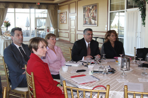 JENNIFER GUSTAVSON PHOTO   Greenport and Southold school officials at Diane Ravitch's meeting on Tuesday in Hauppauge.