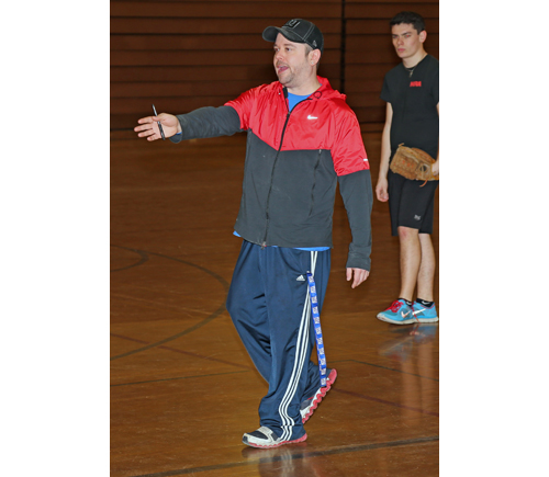 Mike Sage, directing Tuesday's indoor practice, is Greenport's new varsity coach. (Credit: Daniel De Mato)
