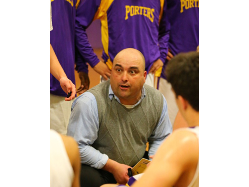 DANIEL DE MATO PHOTO | Ev Corwin talking to his players during his debut as Greenport's coach.
