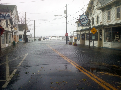 Greenport flooded near Claudio's before Hurricane Sandy struck in 2012. (Credit: Julie Lane, file)
