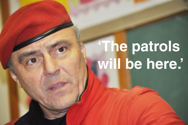 Guardian Angels founder Curtis Sliwa spoke for more than 90 minutes with members of the Greenport community Tuesday evening. (Credit: Grant Parpan)