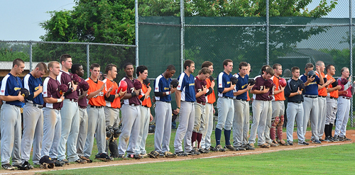 ROBERT O'ROURK PHOTO | The North All Stars during the singing of the national anthem.