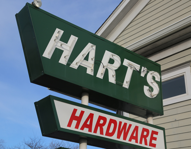 Hart's True Value Hardware closed last year after decades in business on Main Road in Southold. The property's new owner says he'll try to find a way to retain the store's iconic neon sign. (Credit: Paul Squire)