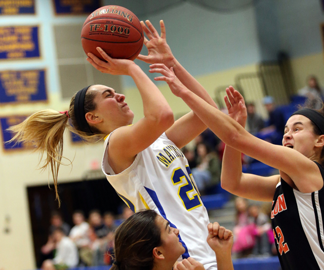 Mattituck senior Katie Hoeg puts up a shot. (Credit: Garret Meade)