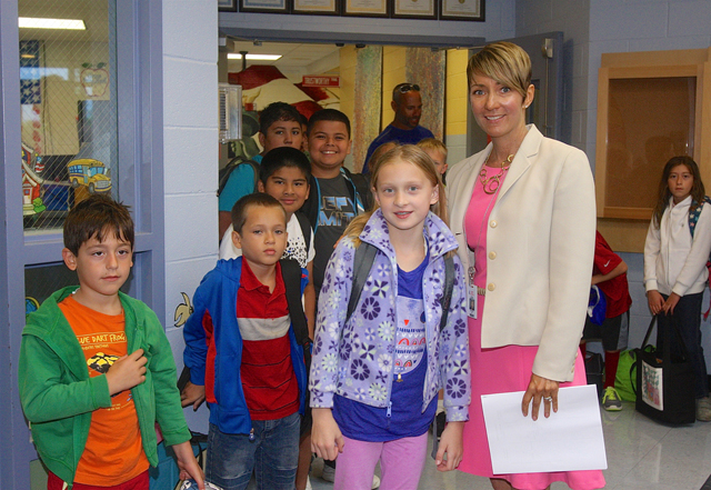 Southold Elementary School principal greeted students in the lobby Tuesday morning.
