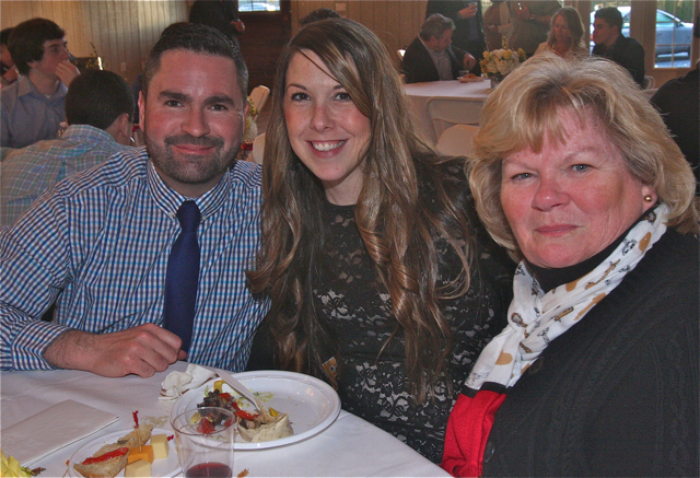 Suffolk Times Sports Person of the Year: Mat Litchhult (left) with his wife Stefanie and mother Peggy Litchhult. (Credit: Barbaraellen Koch)