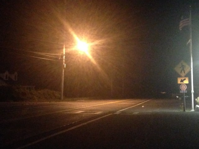 A pedestrian was killed crossing Sound Avenue Thursday night. (Credit: Paul Squire)