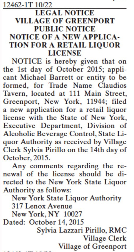 The legal notice as it appeared in this week's issue of The Suffolk Times.