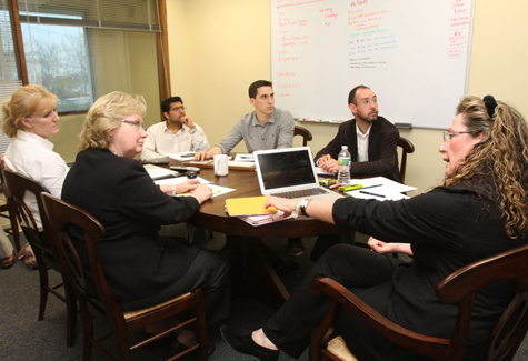 Buncee founder Marie Clarke Arturi (far right ) and her team (clockwise from her) attorney Par Blake, business manager Mary Mitchell, chief technology officer Lincoln Pahua, marketing Mark Arpaia and chief creative officer Colin Goldberg.