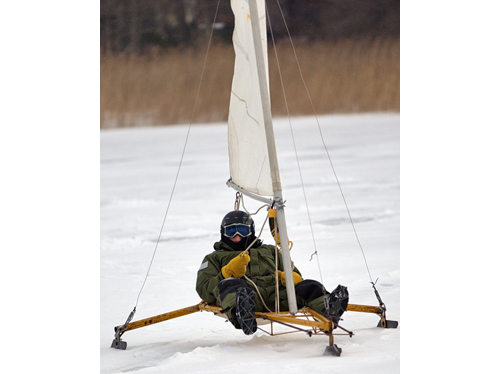 Bill Kanz of Orient ice boating on Great Pond in Southold. (Credit: Garret Meade)
