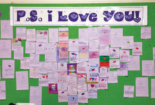Shoreham-Wading River student Giavanna Verdi created this bulletin board where people can post compliments, inspirational quotes or song lyrics.