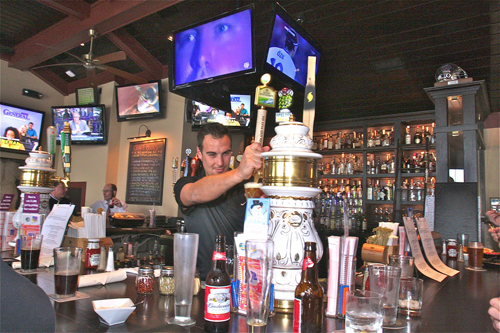 Barbaraellen Koch file photo  |  Legends bartender Jonathan Polistena behind the bar last month.